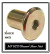 Bed replacement KD sleeve Connector/Cap Nuts. 8mm thread M8. Pks 4-100. Chrome/Bronze/Brass/Black